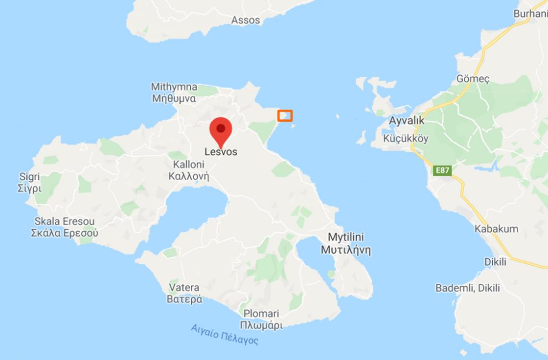 vierkantje markeert locatie onbewoond eiland